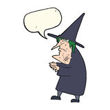 Cartoon ugly old witch with speech bubble Stock Images