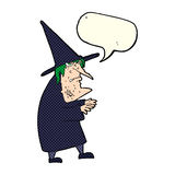 Cartoon ugly old witch with speech bubble Royalty Free Stock Images