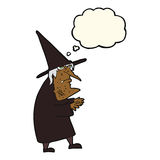 Cartoon ugly old witch with thought bubble Stock Photos