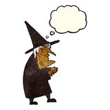 cartoon ugly old witch with thought bubble Stock Photography