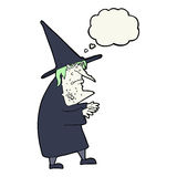 Cartoon ugly old witch with thought bubble Stock Photo