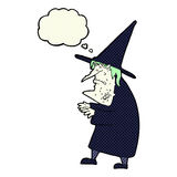 Cartoon ugly old witch with thought bubble Royalty Free Stock Image