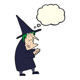 Cartoon ugly old witch with thought bubble Royalty Free Stock Photo