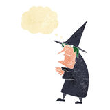 Cartoon ugly old witch with thought bubble Stock Images