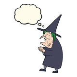 Cartoon ugly old witch with thought bubble Royalty Free Stock Images