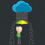 Cartoon umbrella, The concept of data protection Stock Photo