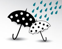 Cartoon umbrella. With rain illustration stock illustration