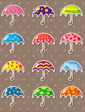 Cartoon umbrella stickers Stock Photography