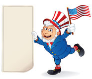Cartoon Uncle Sam Holding Blank Paper Bill. Vector Stock Image