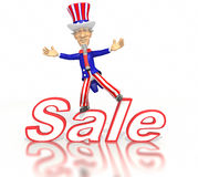 Cartoon Uncle Sam standing on sale text. A cartoon Uncle Sam in a red white and blue suit stands on top of the text sale.  Isolated on a white background with a Stock Photo