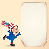 Cartoon Uncle Sam with USA Flag. Vector Background Stock Images