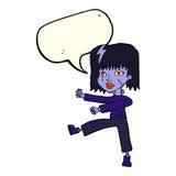 Cartoon undead girl with speech bubble Stock Image