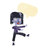 Cartoon undead girl with speech bubble Stock Images