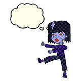 cartoon undead girl with thought bubble stock illustration