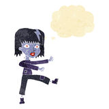 Cartoon undead girl with thought bubble Royalty Free Stock Photo