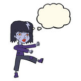 Cartoon undead girl with thought bubble Royalty Free Stock Images