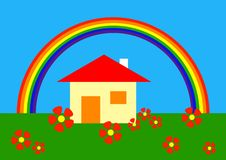 Cartoon: under the rainbow. Simple vector drawing of home under the rainbow Royalty Free Stock Photography