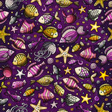 Cartoon under water life seamless pattern Royalty Free Stock Images