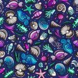 Cartoon under water life seamless pattern Stock Photos