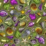 Cartoon under water life seamless pattern Royalty Free Stock Photo