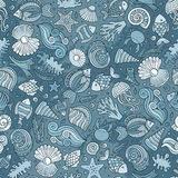 Cartoon under water life seamless pattern Royalty Free Stock Photography