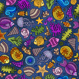 Cartoon under water life seamless pattern Stock Photography