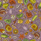 Cartoon under water life seamless pattern Royalty Free Stock Image
