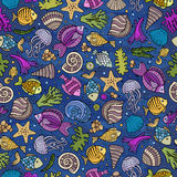 Cartoon under water life seamless pattern Stock Images