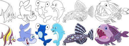 Cartoon underwater animals set. Collection of fishes. Moorish idol, shark, hammer-head, dolphin, catfish, angler fish. Coloring book pages for kids Stock Photography