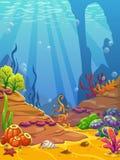 Cartoon underwater background. Stock Image