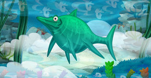 Cartoon underwater dinosaur Stock Image