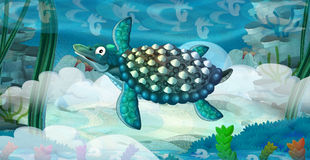Cartoon underwater dinosaur Royalty Free Stock Photo