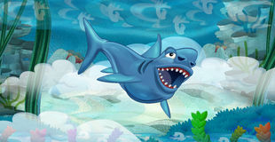 Cartoon underwater dinosaur Royalty Free Stock Images