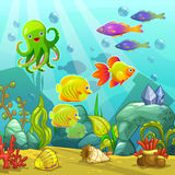 Cartoon underwater landscape Stock Image