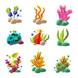 Cartoon underwater plants and creatures. Set of cartoon underwater plants and creatures. Vector isolated corals and algae Royalty Free Stock Photo