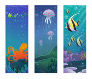 Cartoon Underwater Sea Animals Vertical Banners. With discus fishes octopus jellyfishes corals seaweeds vector illustration Stock Photo