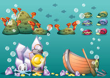 Cartoon  underwater treasure background with separated layers for game art and animation game. Design asset in 2d graphic Stock Photos