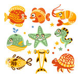 Cartoon underwater world with fish, plants, marine life. Underwater world set of colorful characters vector. Illustrations isolated on white background Royalty Free Stock Photography