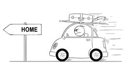 Cartoon of Unhappy or Angry Man Going Back or Returning in Small Car From Holiday or Vacation. Arrow Sign With Home Text. Cartoon stick man drawing conceptual Stock Images
