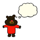 cartoon unhappy black bear  with thought bubble Royalty Free Stock Image