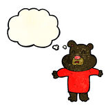 cartoon unhappy black bear  with thought bubble Royalty Free Stock Images
