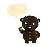 cartoon unhappy black teddy bear with speech bubble Stock Photos