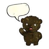 cartoon unhappy black teddy bear with speech bubble Royalty Free Stock Image