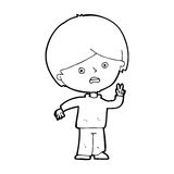 Cartoon unhappy boy giving peace sign Royalty Free Stock Photos