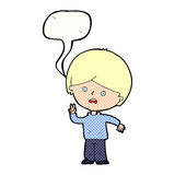 Cartoon unhappy boy giving peace sign with speech bubble Stock Images