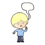 Cartoon unhappy boy giving peace sign with speech bubble Stock Photo