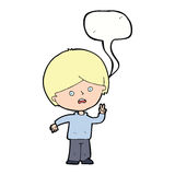 Cartoon unhappy boy giving peace sign with speech bubble Stock Photos