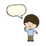 Cartoon unhappy boy giving peace sign with speech bubble Royalty Free Stock Photography