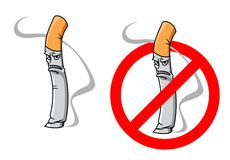 Cartoon unhappy cigarette character Royalty Free Stock Image