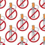 Cartoon unhappy cigarette seamless pattern Stock Photos